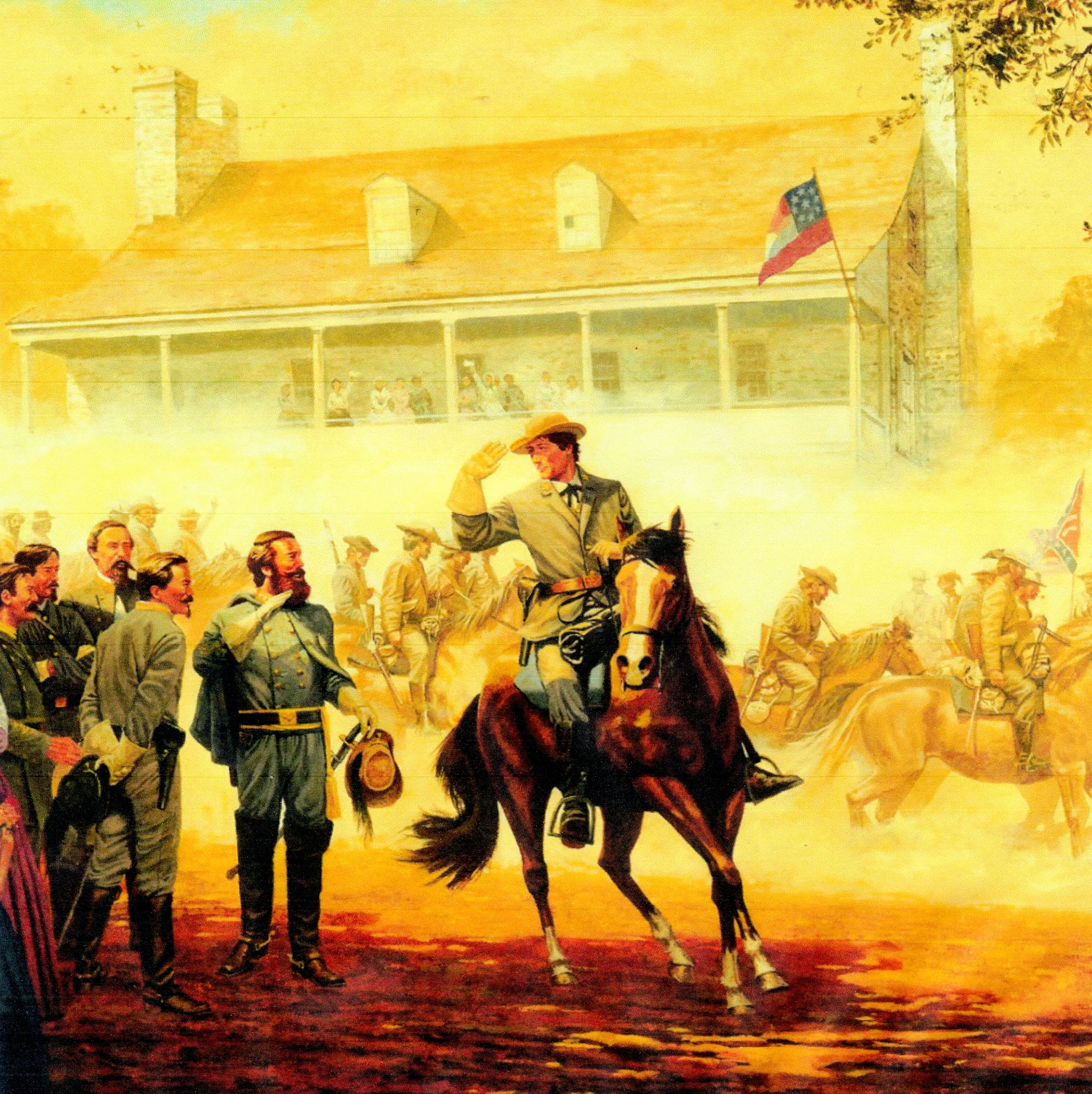 John S. Mosby meets with Jeb Stuart in front of the Red Foxx Inn - June 17, 1863